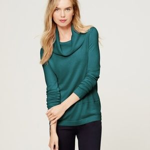 Loft Teal Green Cowl Neck Sweatshirt Tunic